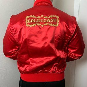 Vintage 80s Red Satin Gold Coast Casino Jacket